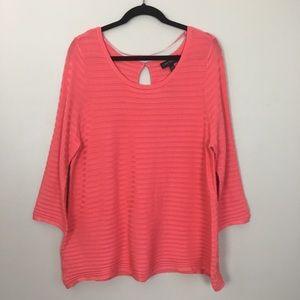 Lane Bryant Orange Knit Striped Sweater NWT 14/16